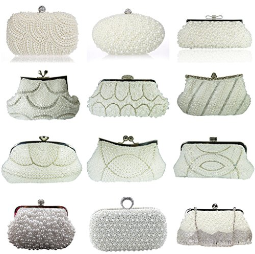 Heyjewels Elegant Handgemacht Zweiseitig Perlen Beaded Clutch Brauttasche Unterarmtasche Party Abendtasche Weiss #2