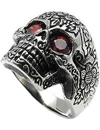 KONOV Joyería Anillo de hombre, Retro Vintage Gótico Calavera Cráneo, Circonita Acero inoxidable, Color rojo negro plata (con bolsa de regalo)