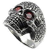 KONOV Joyería Anillo de hombre, Retro Vintage Gótico Calavera Cráneo, Circonita Acero inoxidable, Color rojo negro plata - Talla 20 (con bolsa de regalo)