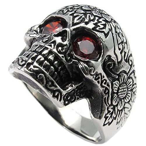 KONOV Joyería Anillo de hombre, Retro Vintage Gótico Calavera Cráneo, Circonita Acero inoxidable, Color rojo negro plata - Talla 31 (con bolsa de regalo)