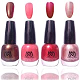 #9: Makeup Mania Premium Nail Polish - Combo of 4 Exclusive Nail Paint - Dark Brown, Peach Pink, Metalic Red, Silver Grey, 12 ml each bottle (MM#58)