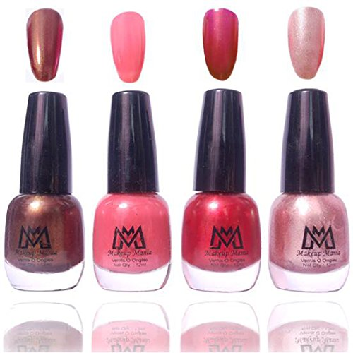 Makeup Mania Premium Nail Polish Exclusive Nail Paint Combo (Dark Brown, Peach Pink, Metallic Red, Silver Grey, Pack of 4)