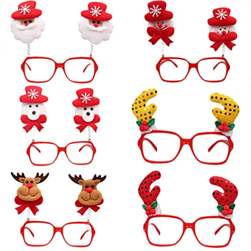FunPa 6 Pairs Christmas Glasses Frame Assorted Cute Cartoon Funny Glasses Party Favor Glasses