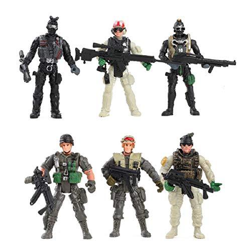 YIJIAOYUN 6 Pezzi Action Figure Soldatini Giocattolo con Arma / Militare Figure Playset