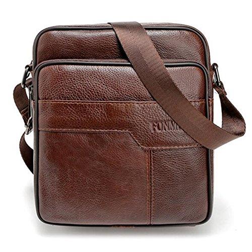 OURBAG Männer Vintage Aktentasche Schultertasche Echtes Leder Umhängetasche Handtasche Kaffee Mitte