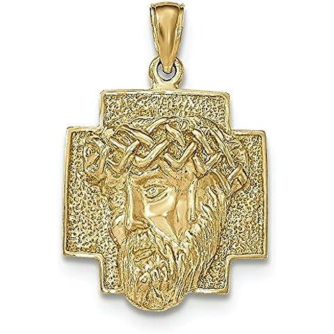 14kt oro lucido 2d grande testa di Cristo con corona ciondolo