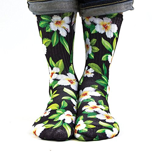Hawaiian Style Tube Top (Samson Strumpfwaren® 3D Hand bedruckt Sublimation Socken Tube Crew Street Qualität Modische Street Casual Schuhe Unisex Gr. Einheitsgröße, Hawaiian Black White)
