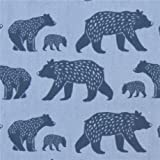 Blue with navy blue bear poplin organic fabric monaluna USA (per 0.5m unit)