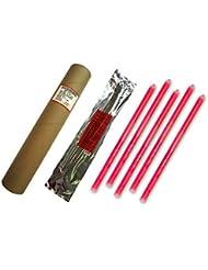 Cyalume Carton de 4 tubes de 5 Bâtons Lumineux Snaplight Non-IMPACT 40cm Rouge 1 Anneau 12 Heures 15'' Emballés Individuellement (Paquet de 20)