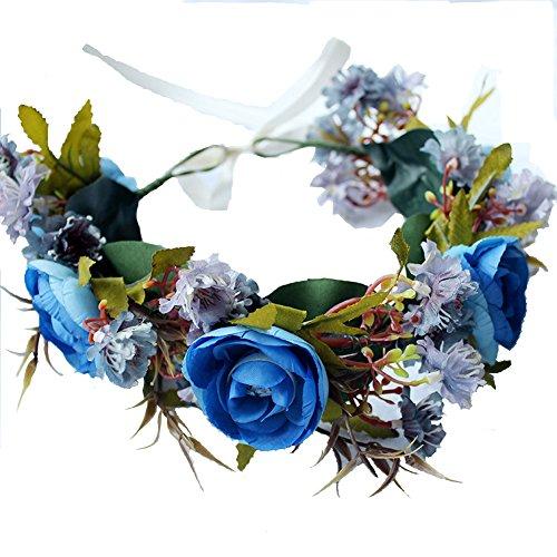 Göttin Grüne Kleid (Blau Rose Blume Kranz Haarband Brautschmuck Krone Boho Blumengirlande für Festival)