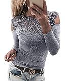 YOINS Sexy Schulterfrei Oberteil Damen Off Shoulder Top Bluse mit Spitze Langarm Spitzenbluse Mode Patchwork Tshirt Bluseshirt Schulterfrei-grau EU32-34