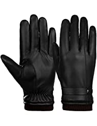 Vbiger Mens Winter Gloves Touchscreen PU Leather Driving Gloves Mittens