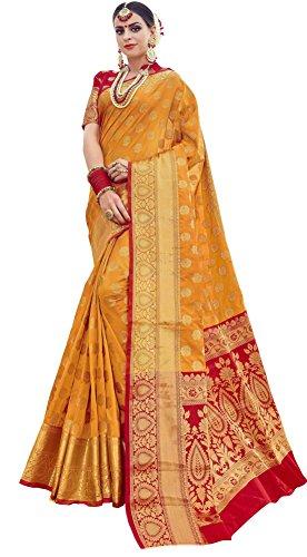 EthnicJunction Banarasi Silk Saree With Blouse Piece(Ej1178-07971_Dark Yellow_Free Size)