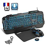 EMPIRE GAMING - Nouveau - Pack Gamer PC Hellhounds - Pack Clavier gamers, souris gamer, tapis gaming - Programmable avec logiciel – Rétro-éclairage LED RGB - 7200 DPI – Compatible Windows