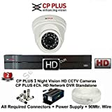 CP Plus 2.4 MP HD CCTV Cameras With 4 CH DVR, 1 Dome Camera, 500 GB Hard Disk, 4 CH Power Supply, 90 Mtr. Wire Bundle, BNC And DC Connectors With 2 Year Warranty