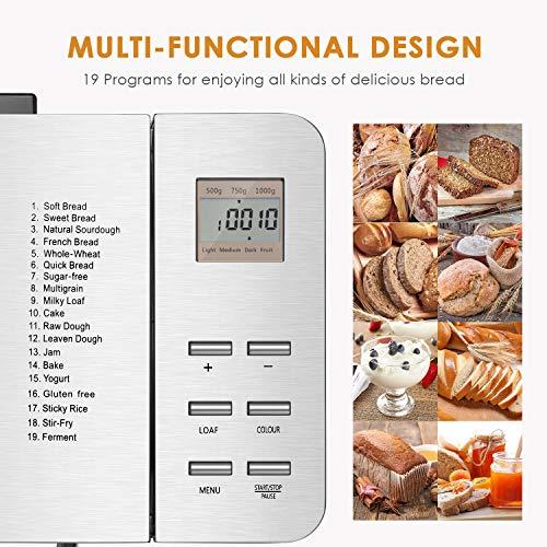 Macchina per il Pane, Aicok 19 Programmi Automatici Macchina del Pane in Acciaio Inossidabile, Capacità 1kg, Senza Glutine, 3 Livelli di Doratura, Display LCD, 650W