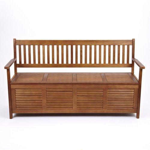 Sunart 3-Sitzer-Gartenbank aus Hartholz für Garten, Terrasse usw., mit Stauraum unter dem Sitz