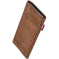 fitBAG Retro Braun Handytasche Tasche aus Cord-Stoff mit Microfaserinnenfutter für Apple iPhone 5 / 5s / SE 16GB 32GB 64GB | Schlanke Hülle als edles Zubehör mit praktischer Reinigungsfunktion | Rundumschutz | Made in Germany