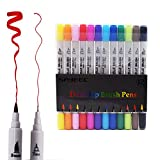 Dual Tip Brush Marker Pens,SAYEEC 12 Colors Dual Tip Highlighters Brush Tip(1mm-2mm) with Fineliner Tip 0.4mm Art Marker Soft Flexible Tip Durable Create Watercolour Effect - Best for Adult Colouring Books/Manga/Comic/Calligraphy