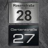 Metzler-Trade Hausnummer aus Edelstahl - Schild mit Nummer und Straßenname - inkl. Beschriftung - Befestigungsmaterial