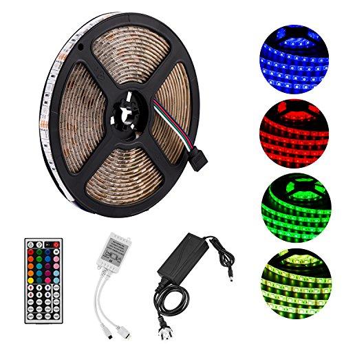 Yasolote, Wasserdicht LED Streifen, RGB LED Lichtband mit 12v Niederspannung Stecker, 300 LED 5M Dimmer LED Strip, Farbwechsel mit 44 Tasten IR Fernbedienung, Deko LED Band für HDTV, Fernseher und Desktop-PC, Flüssigkristallanzeige, Zimmerbeleuchtung