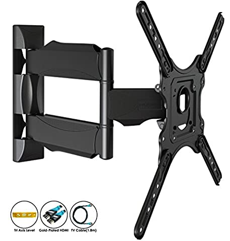 Invision® Ultra Slim Tilt Swivel TV Wall Bracket Mount - For 24 - 55 Inch LED LCD Plasma & Curved Screens - Now Includes 1.8m HDMI Cable