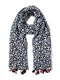 TOM TAILOR Casual Damen Schal Trendy Tuch mit Glitzereffekt und Bommeln Blau (Sky Captain Blue 10668) One Size (Herstellergröße:ONESIZE)