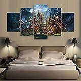 BOYH 5 Stück Drucke Auf Leinwand League of Legends Spielposter Wall Art HD Home Decor Dekoration Poster,B,10×15×2+10×20×2+10×25×1