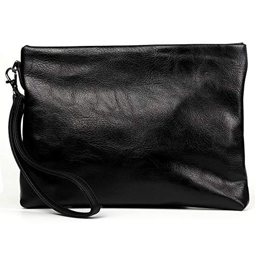 Neue kleine Herren Business Clutch Tasche Mode Umschlag Tasche Hand Geldbörse Clip Tasche, schwarz