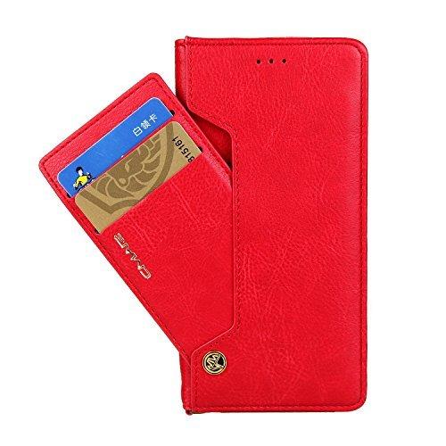 CMai2 Galaxy S7Edge 14cm Fall, Geldbörse Leder Abnehmbare Kartenfächer Cash Ständer Flip Schutzhülle für Samsung Galaxy S7Edge, Rot (Unterwasser Flip-kamera)