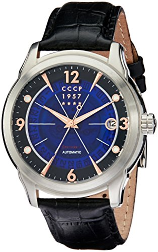 CCCP Men's Sputnik-1 44mm Leather Band Steel Case Automatic Watch CP-7001-0A