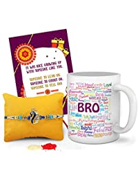 Tied Ribbons Rakshabandhan Gifts for Brother (Designer Rakhi, Printed Coffee Mug, Rakshabandhan Special Card, Roli Chawal)