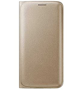 TBZ Premium Leather Wallet Flip Cover Case for Samsung Galaxy On7 -Golden