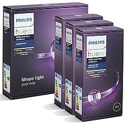 Philips Hue LightStrip+ 5 Meter Set (1 x 2m + 3 x 1m) flexibel erweiterbar, dimmbar, bis zu 16 Millionen Farben, per Hue-Bridge (nicht inkl) steuerbar via App, Smartphone, Tablet & Sprache
