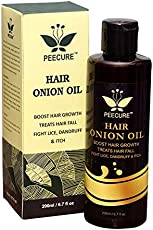 peecure Onion Oil for hair Treatment with Argan and Jojoba Oil, Bhringraj, Shea Butter, 200ml