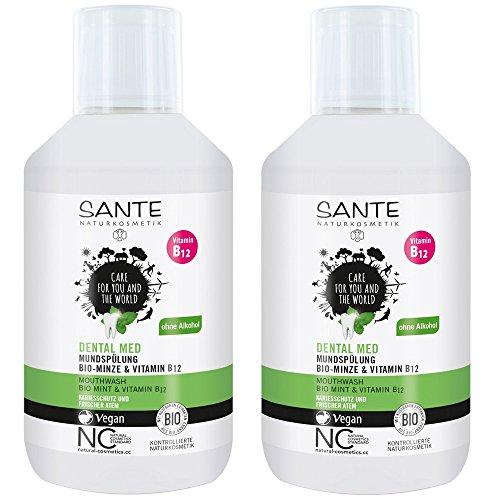 SANTE Dental Med Mundspülung Minze Vitamin B12 mit Fluorid ohne Alkohol 2er-Pack (2x 300ml) (bio, vegan) Mundwasser x2