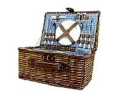 Zolta Picknickkorb 4 Personen Weidenkorb Picknickkoffer Geschirr inklusive 42x29x21cm Weidentrieb