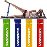 VINMEX Fitnessbänder 4er Set, Fitnessband, Gymnastikband, Widerstandsbänder, Resistance Bands, Fitnessband für Yoga Gymnastik mit Anleitung, eBook auf Deutsch und Tragebeutel Expander (New)