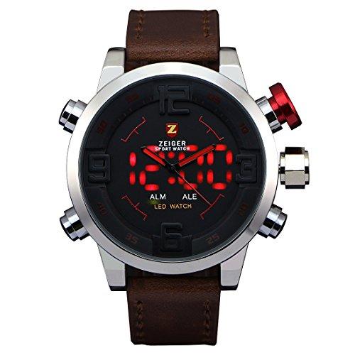 ZEIGER-Herrenuhr-Militr-Analog-Digital-Braun-Leder-Armbanduhr-Herren-Quarzuhr-LED-Licht-W296