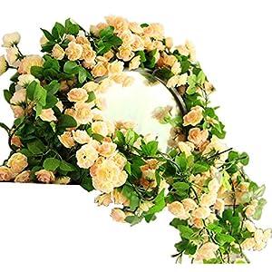KingYH 2 Piezas 170 cm Guirnalda de Rosas Artificiales con Hojas Verdes 60 cabezas Rosas Hiedra de Seda Plantas…