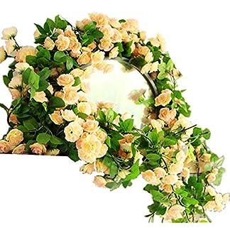 KingYH 2 Piezas 170 cm Guirnalda de Rosas Artificiales con Hojas Verdes 60 cabezas Rosas Hiedra de Seda Plantas Colgantes para Colgar Decoración Boda Cercas Hogar Interior Partido Champagne