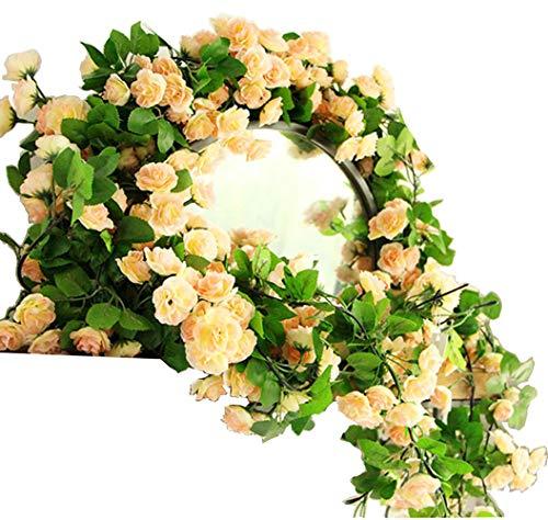 KingYH 2 Stück 170cm Künstliche Blume Girlanden 60 Künstliche Rosen Blumen Girlande Gefälschte Simulation Hängende Dekoration Blumen und Blätter Dekor Hochzeiten Dekorationen Zuhause Garten Champagner -