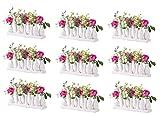 Keramikvasenset Blumenvase Keramikvasen Bunt/weiß Vase Blumen Pflanzen Keramik Set Deko Dekoration (9 Sets je 10 Vasen, weiß)