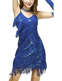 Damen Elegant Abendkleid Festlich Kleid Glitzer Vintage Ärmellos Tanz  Kleider 3222f44062