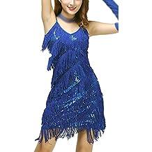 Mujer Lentejuela Borla Latino Correa Funcionamiento Danza Latina Vestidos Bailes