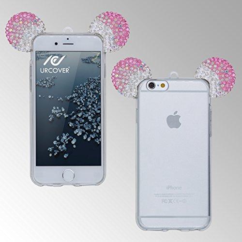 Urcover® Apple iPhone 6 / 6s Handyhülle Maus Ohren Bling Ear Schutzhülle Case Cover Etui Crystal Bär Maus Ohren Girl TPU Diamant Gold Silber Pink / Silber