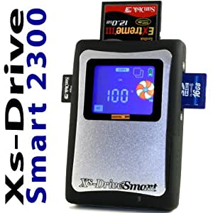 """80 GB SSD Xs-Drive Smart 2300 SDHC SATA Portable Photo Backup Storage, ImageTank, PhotoBank, mobile Data Storage Device and External Hard Drive (USB 2.0) with integr. 80GB Solid State Drive (SSD), Multi-Card Reader, LCD, Battery + (EU-Pin) Power Supply (100-240V). 80 Go Disque dur externe SSD portable 2,5"""" USB 2.0"""