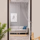 Chshe 50cm x 200cm Love Heart Printted String Curtain Window Door Divider Sheer Curtain Valance (grau)