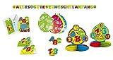 220070 Deko Set Schulanfang Luftballons Tischkonfetti ABC Girlande Partykette Tischkarten Einladungen Tischdeko Waben