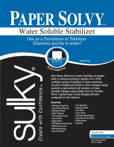 Jeder 81/2x 27,9cm Paper Solvy Folie für wasserlöslich Stabilisator, 12Stück (Papier Wasserlösliches)